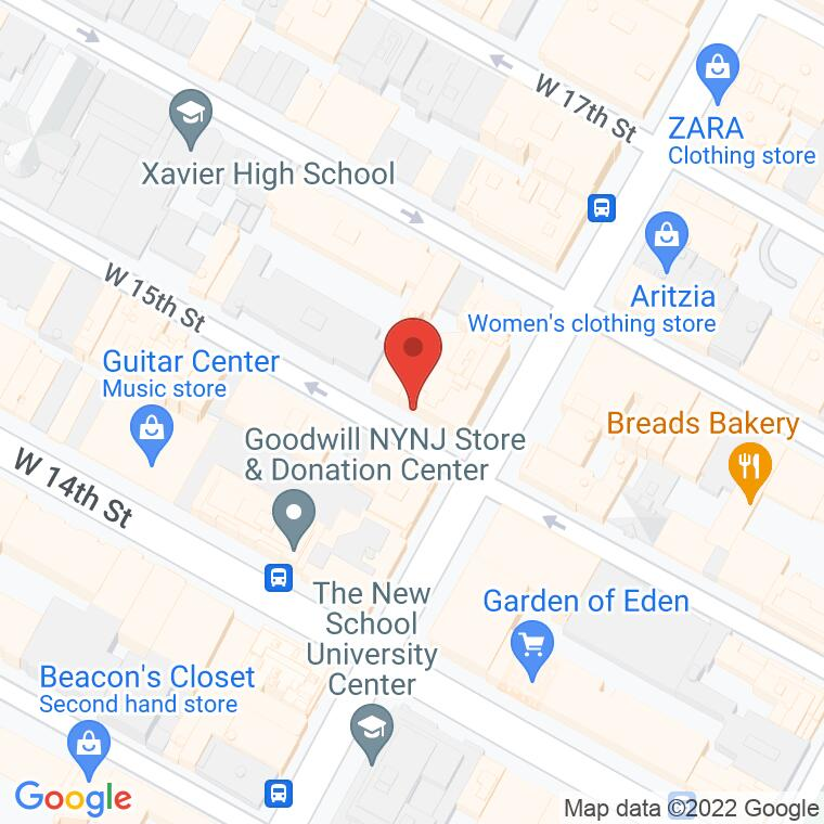 Google Map of 1 W 15th St, New York, NY 10011, 1 W 15th St, New York, NY 10011