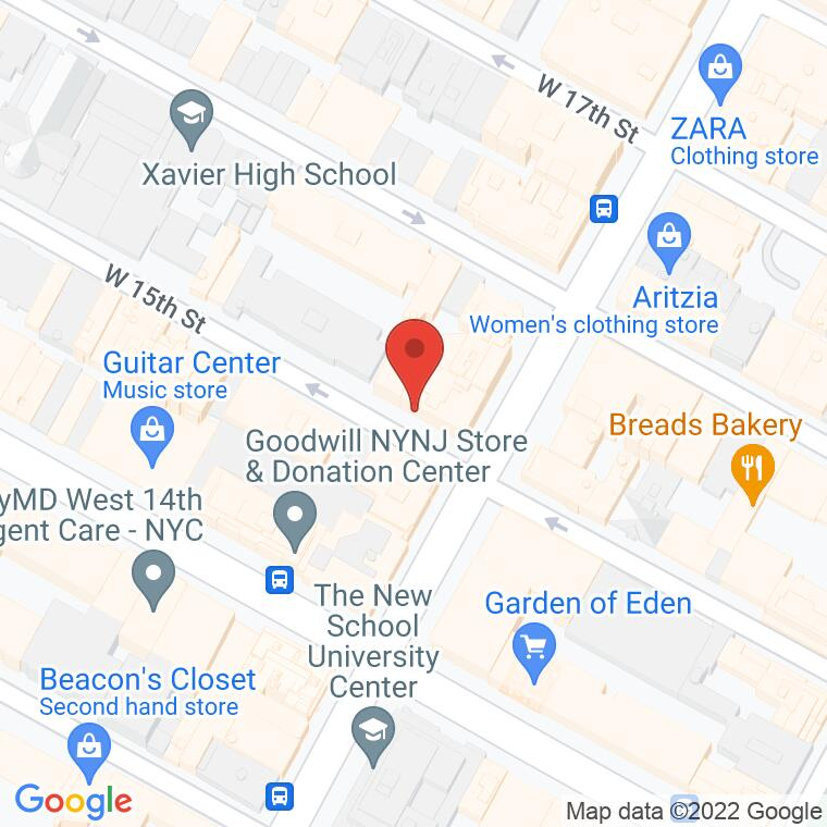 Google Map of 1 W 15th St., New York, NY 10011, 1 W 15th St., New York, NY 10011