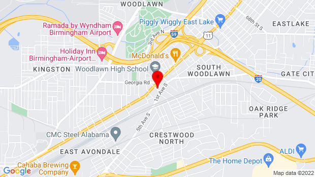 Google Map of 1 55th Place S, Birmingham, AL 35212