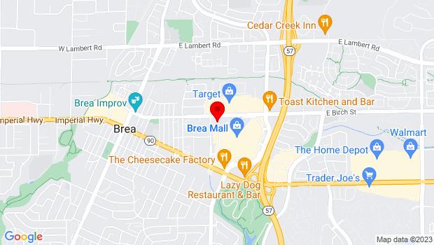 Google Map of 1 Civic Center Cir, Brea, CA 92821