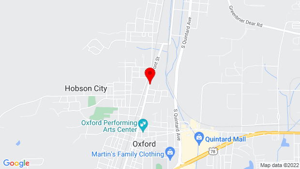 Google Map of 1 Main Street, Oxford, AL 36203