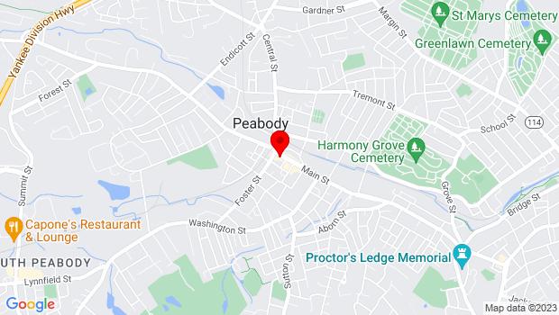 Google Map of 1 Main Street, Peabody, MA 01960