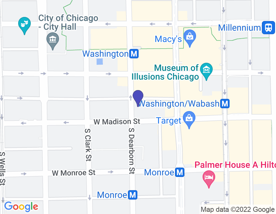 Google Map of 1 North Dearborn Street, Chicago, IL