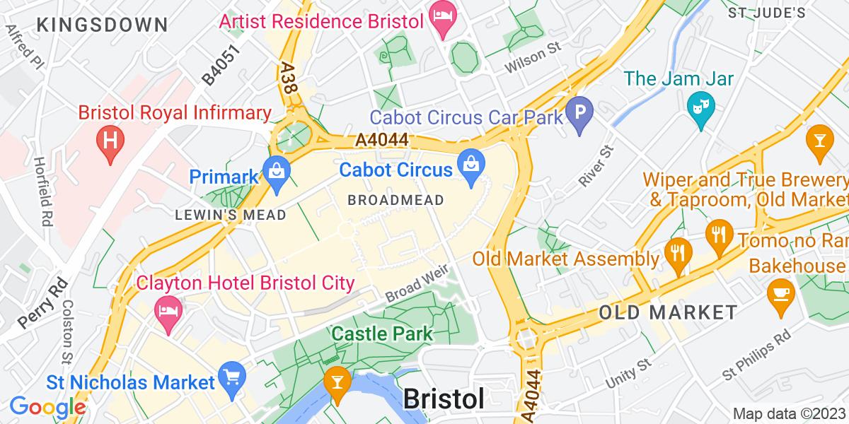 Google Map of 1-3 Broadmead Bristol BS1 3HF