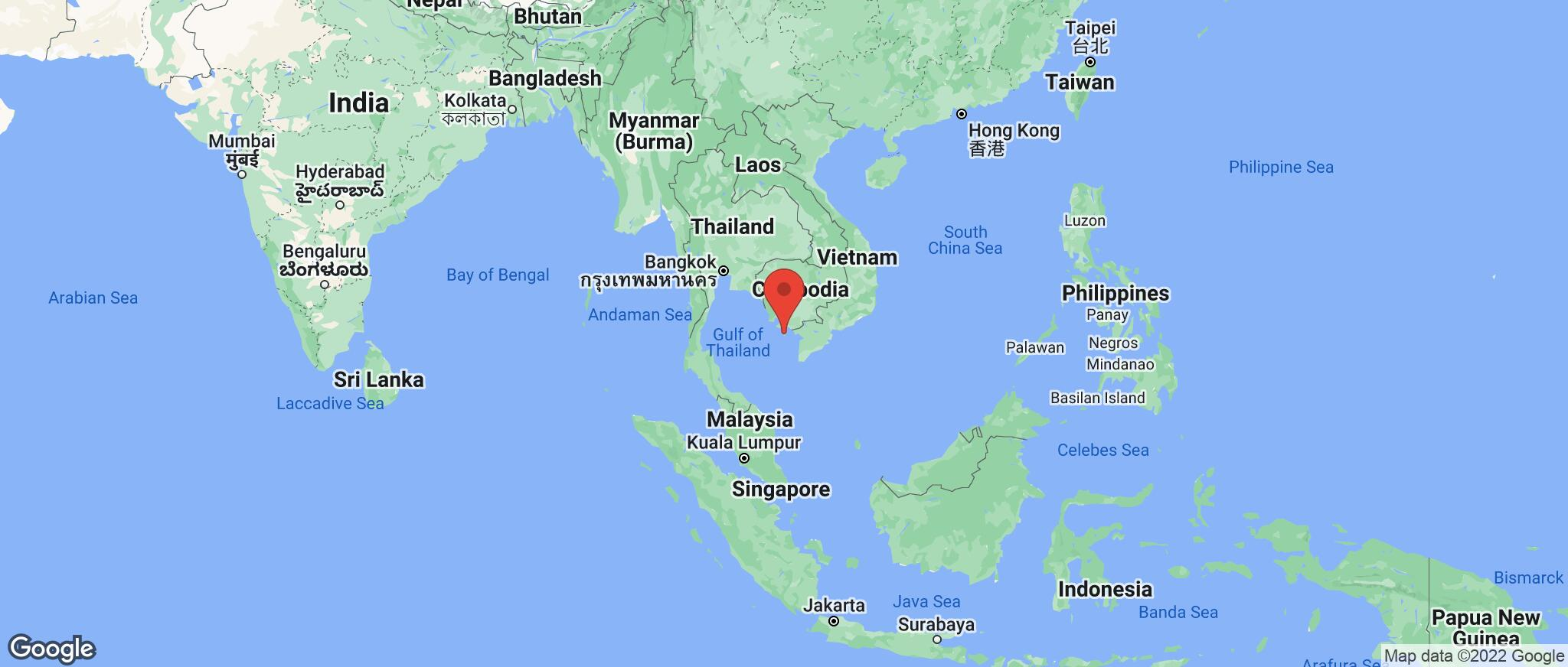 Map showing the location of Vietnam