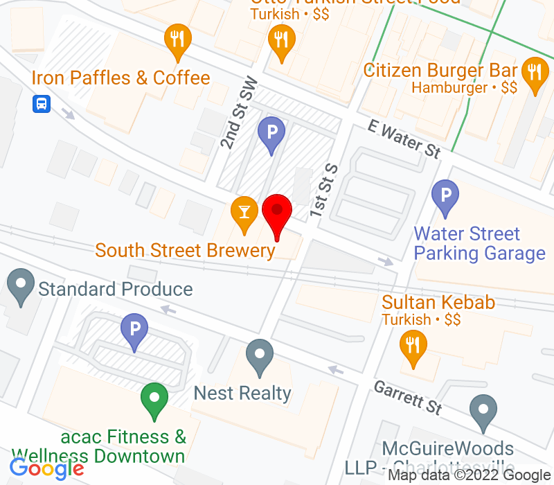 Click to view Google maps office address 100 East South Street, Charlottesville, VA 22902
