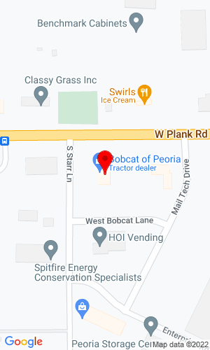 Google Map of Bobcat of Peoria, Inc. 100 Starr Lane, Bellevue (Peoria), IL, 61604