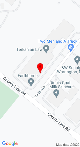 Google Map of Earthborne Inc. 100 Titus Ave, Warrington, PA, 18976