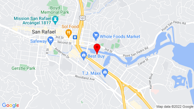 Google Map of 100 Yacht Club Dr., San Rafael, CA 94901
