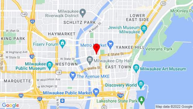 Google Map of 1000 N. Broadway, Milwaukee, WI 53202