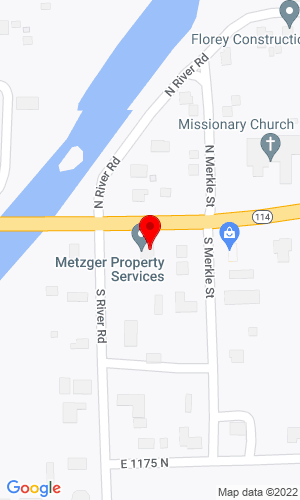 Google Map of Metzger Property Services 101 S. River Road, N. Manchester, IN, 46962