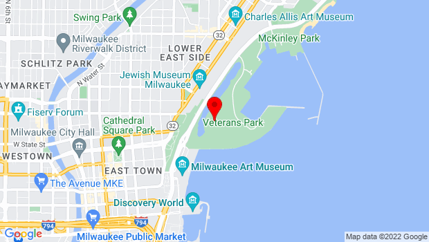 Google Map of 1010 N Lincoln Memorial Dr, Milwaukee, WI 53202