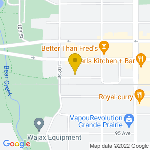 Map to Grande Prairie Live Theatre provided by Google