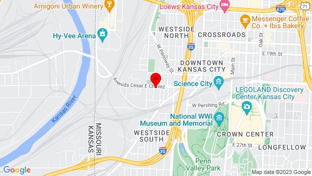 Google Map of 1015 Avenida Cesar E Chavez, Kansas City, MO 64108