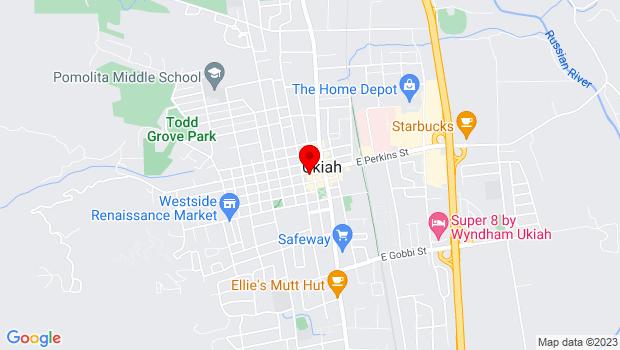 Google Map of 102 South School Street, Ukiah, CA 95482
