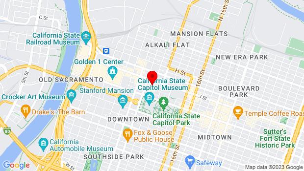 Google Map of 1020 11th Street, Suite 100, Sacramento, CA 95814