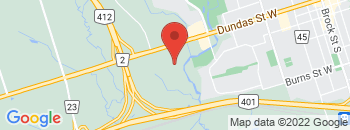 Google Map of 1025+DUNDAS+ST+W%2CWhitby%2COntario+L1P+1Z1