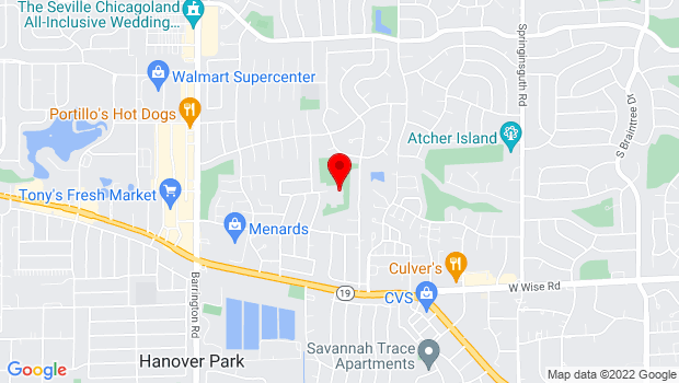 Google Map of 1035 Parkview Drive, Hanover Park, IL