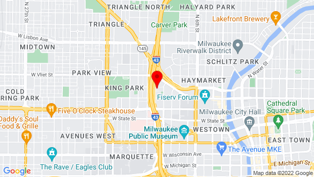 Google Map of 1037 W. McKinley Ave., Milwaukee, WI 53205