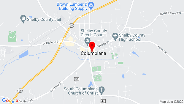Google Map of 104 Mildred Street, Columbiana, AL 35051, Columbiana, AL 35051