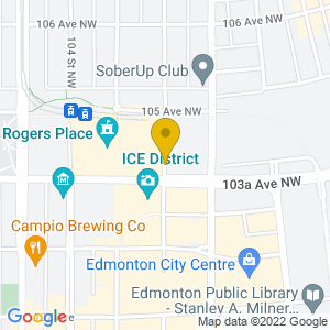 Map to Rogers Place - Edmonton provided by Google