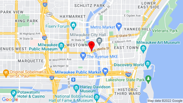 Google Map of 106 West Wells Street, Milwaukee, WI 53203