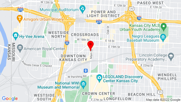 Google Map of 106 W. 20th St., Kansas City, MO 64101