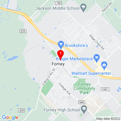 Google Map of 106 W. Broad St.   Forney, TX 75126