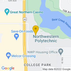 Map to Douglas J Cardinal Performing Arts Centre provided by Google