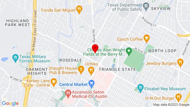 Google Map of 1100 West 45th Street, Austin, TX 78756