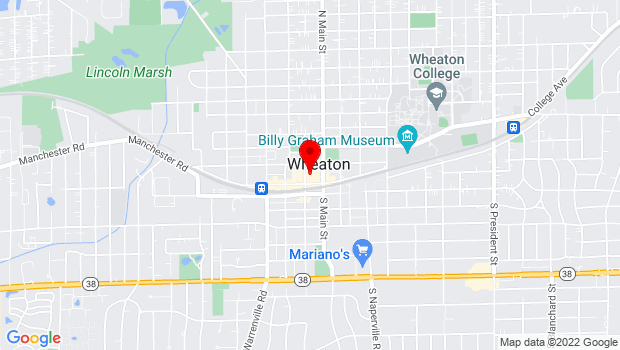 Google Map of 111 N Hale St, Wheaton, IL 60187