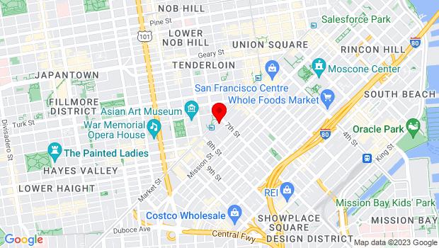 Google Map of 1117 Market St, San Francisco, CA 94103