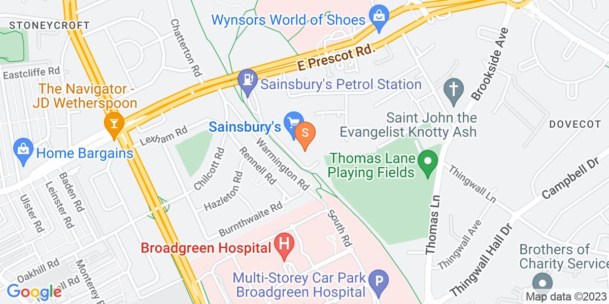 Google Map of 112 East Prescot Road Liverpool L14 5PT