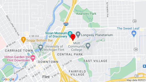 Google Map of 1120 E Kearsley St, Flint, MI 48503
