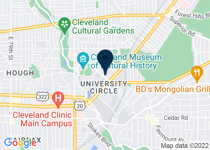 Map of 11240 Bellflower Road, Cleveland, OH 44106