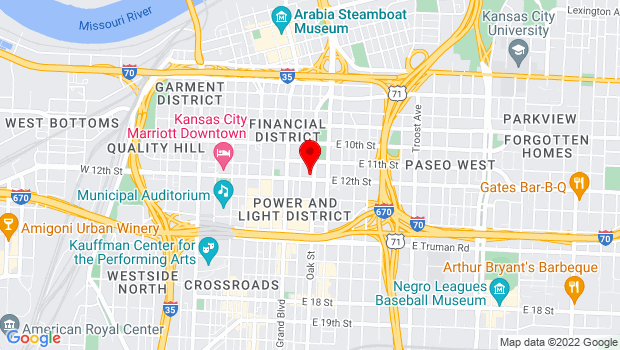 Google Map of 1132 Oak Street, Kansas City, MO 64106