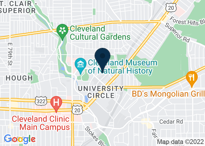 Map of 11401 Bellflower Road, Cleveland, OH 44106, United States