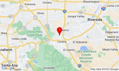 Google Map of 1159 Neatherly Circle Corona, CA, 92880