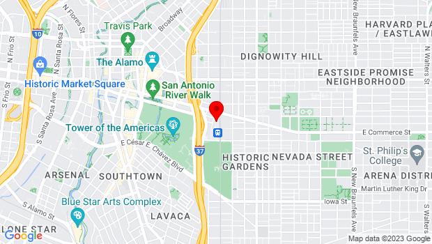 Google Map of 1174 E. Commerce, San Antonio, TX 78205