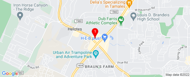Google Map of 11840 Bandera Rd, Helotes, TX 78023, USA