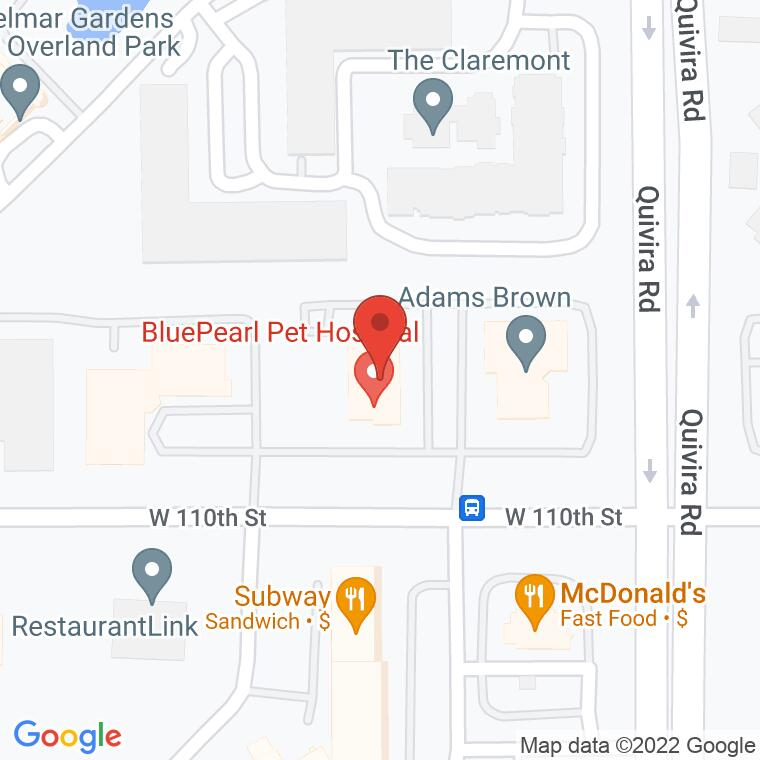 Google Map of 11950 W 110th St., Overland Park, KS 66210, 11950 W 110th St., Overland Park, KS 66210