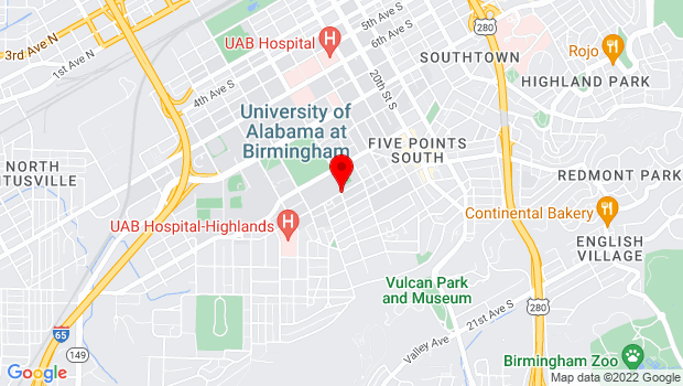 Google Map of 11th Avenue South and 16th Street, Birmingham, AL 35233