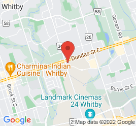 Google Map of 1201+Dundas+Street+East%2CWhitby%2COntario+L1N+2K6