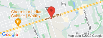 Google Map of 1201+Dundas+Street+East%2CWhitby%2COntario+L1N+2K6