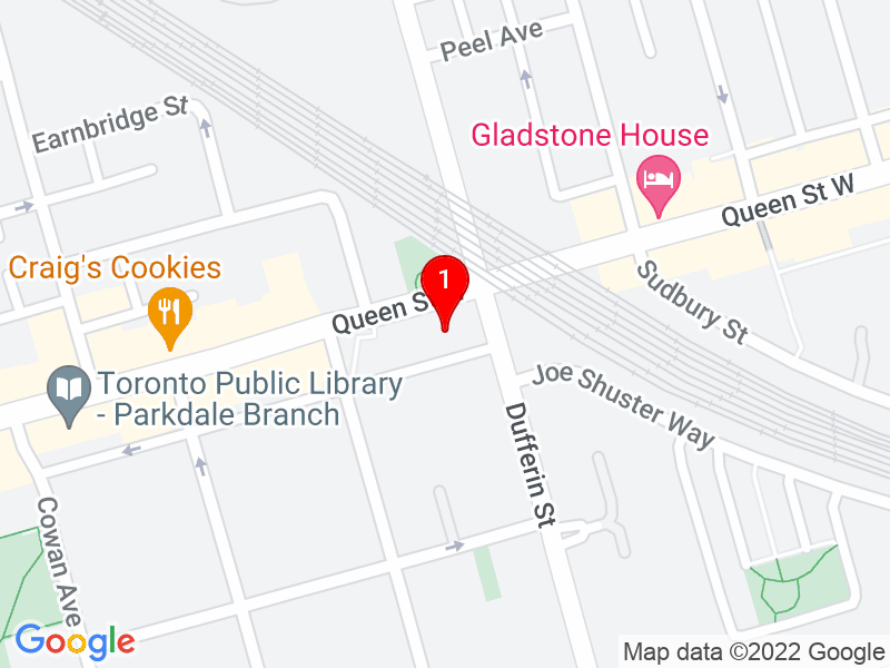 Google Map of 1205 Queen Street West, Toronto, ON