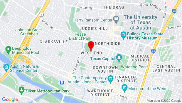 Google Map of 1218 West Ave., Austin, TX 78701
