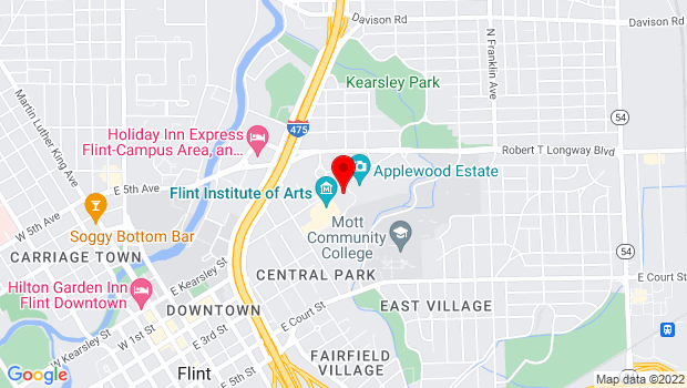 Google Map of 1220 E. Kearsley St, Flint, MI 48503
