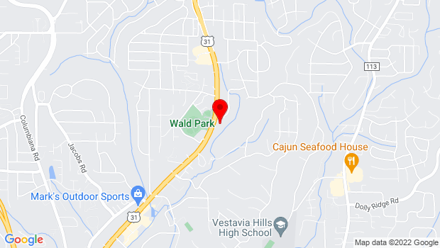Google Map of 1221 Montgomery Highway, Vestavia Hills, AL 35216