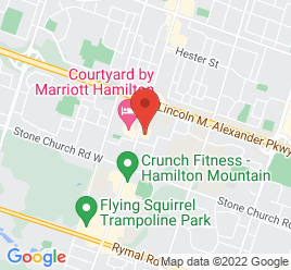 Google Map of 1221+Upper+James+Street%2CHamilton%2COntario+L9C+3B2