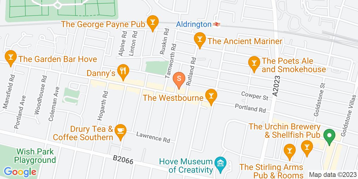 Google Map of 123-125 Portland Road Hove BN3 5QW